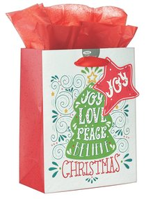 Christmas Gift Bag Medium: Joy, Love, Peace With Tissue Paper, Gift Tag & Satin Ribbon Handles