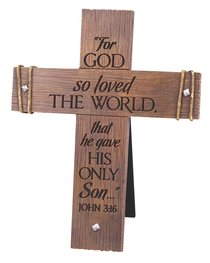 Cast Stone Desktop Cross: Rugged, (John 3:16)