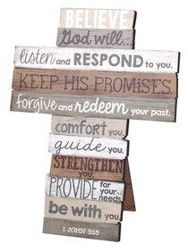 Stacked Wood Cross: Believe, Small (1 John 5:13)