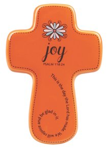 Ceramic Wall Cross: Filled With...Joy, Orange, Small (Psalm 118:24)