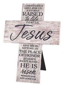 Cast Stone Cross: Raised to Life, White Washed (Rom 8:34 & Luke 24:6)