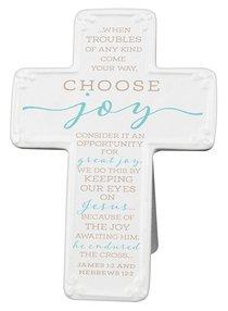 Ceramic Cross: Choose Joy, Light Blue/White (James 1:2 & Heb 12:2)