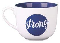 Ceramic Mug/Bowl: Strong, Dark Blue, Large (Psalm 27:14)