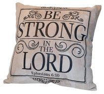Leather Pillow: Be Strong in the Lord, Ephesians 6:10, 35Cm X 35Cm