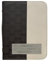 Bible Cover Divine Details: Xlarge, Phil 4:13, (Charcoal/beige)
