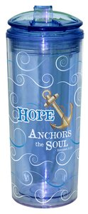 Flip Top Tumbler: Hope Anchors the Soul.. Blue (Heb 6:19)