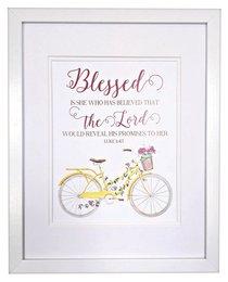 Medium Framed Print: Blessed is She Who Has Believed, Bike, Luke 1:45