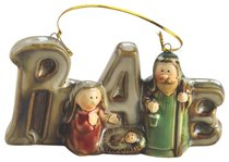Porcelain Holy Family Tree Ornament Colour Glazed: Peace