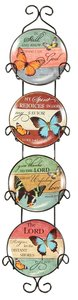 Ceramic Plates With Rack Set of 4: Encouraging Scriptures, Butterflies