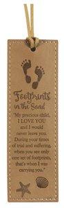 Leather Lux Bookmark: Footprints, Tan