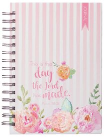 Spiral Watercolor Journal: This is the Day the Lord Has Made.... Hardback (Red/white Stripes, Roses)