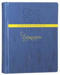 NLT One Year Chronological Bible Expressions Blue Leaves (Black Letter Edition)