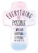 Ceramic Cross: Everything is Possible, Watercolor Script (Matt 19:26) Homeware