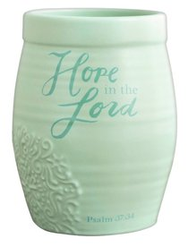 Ceramic Stoneware Vase: Hope in the Lord Mint Green (Psalm 37:34)