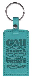 Leather Lux Keyring: Call to Me, Jeremiah 33:3, Turquoise