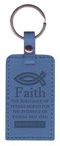 Leather Lux Keyring: Faith, Hebrews 11:1, Blue