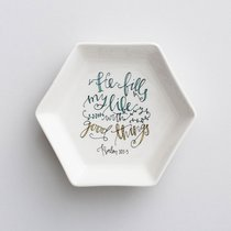 Ceramic Trinket Dish: He Fills My Life With Good Things, White Hexagon Shape ((In)courage Gift Product Series)