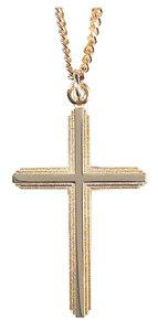 Necklace: Silver and Gold Plated Cross on 60Cm Gold Plated Chain