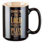 Ceramic Mug: Commit to the Lord... Black/Gold (Prov 16:3)