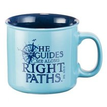 Ceramic Mug: Travel Range, He Guides Me Along Right Paths (Light Blue)