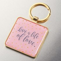 Metal Sparkle Keyring: Live a Life of Love... (Pink/ Gold Dots; Gold Love Heart On Back)