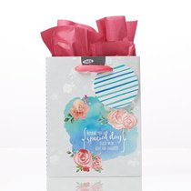 Gift Bag Small: Special Day Blue With Roses (Incl Tissue Paper & Gift Tag)