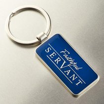 Metal Keyring: Faithful Servant (Navy/silver)