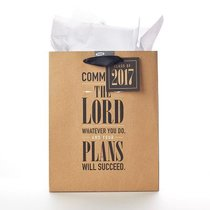 Gift Bag Medium: Graduation, Commit to the Lord....Prov 16:3 (Brown/black)