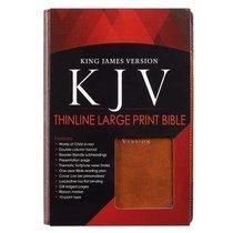 KJV Large Print Thinline Bible Brown Portfolio Red Letter Edition