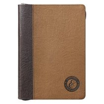 Journal: Fathers Day, Strong & Courageous Luxleather (Brown/dark Brown)