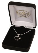 Necklace: Silver Plated Open Heart With Cross on 45Cm Silver Plated Chain Jewellery