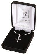 Necklace: Sterling Silver Small Beveled Cross on 45Cm Sterling Silver Chain