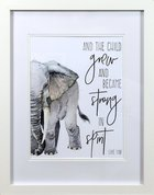 Framed Children's Print Watercolour Elephant and the Child Grew (Luke 1: 80) Plaque