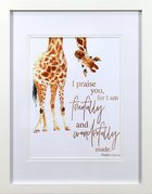 Framed Children's Print Watercolour Giraffe Fearfully & Wonderfully Made (Psalm 139: 14) Plaque