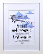 Framed Children's Print Watercolour Plane Be Strong and Courageous (Joshua 1: 9) Plaque