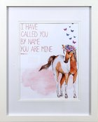 Framed Children's Print Watercolour Pony With Butterflies, I Have Called You By Name (Isaiah 43:1)