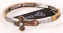 Stretch Bracelet: Bronze Cross With Diamonte (Bronze, Gold, Silver)