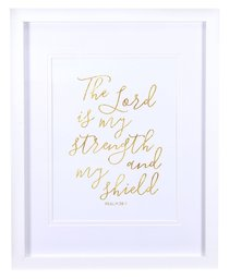 Medium Framed Gold Calligraphy Print: The Lord is My Strength, Psalm 28:7