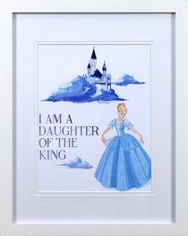 Framed Childrens Print Watercolour Princess I Am a Daughter of the King