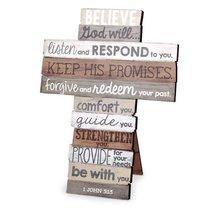 Stacked Wood Cross: Believe, Medium (1 John 5:13)