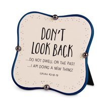 Ceramic Plaque: Dont Look Back, Navy/Cream Little Blessings (Isaiah 43:18-19)
