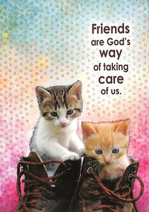 Notepad: Friends Are Gods Way of Taking Care of Us (Kittens In Boots)