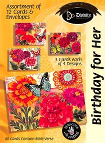 Boxed Cards Birthday For Her: Flowers & Butterflies