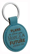 Faux Leather Keyring: Plans to Give You Hope and a Future (Jeremiah 29:11) (Teal)