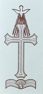 Candle Transfer: Baptism Cross, Dove, Shell and Water (Black And White, 11.5cm X 5cm)