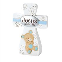 Tabletop Cross: Jesus Loves Me - Boy (Blue/white)