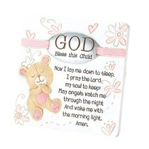 Resin Tabletop Plaque: God Bless Your Child - Girl (Pink/white)