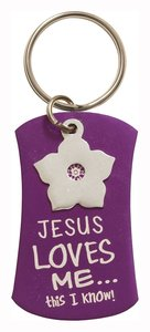 Charm Keyring: Jesus Loves Me This I Know! (Purple With Silver Flower Charm)