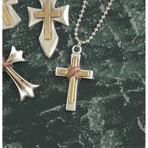 Necklace: Pewter and Brass Medium Box Double Cross With Copper Wire Wrap on 60Cm Stainless Steel Chain