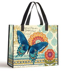 Tote Bag: Start the Day With a Grateful Heart (Blue Butterfly With Black Handles)
